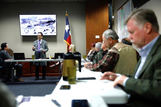 Historic preservationist Max Grossman talks about historical findings of an Apache encampment tracing back to the 1700's in the Union Plaza area during an El Paso County Historical Commission meeting Tuesday, Nov. 12.