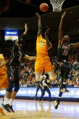 UTEP's Souley Boum takes a shot against New Mexico State University during the game Tuesday, Nov. 12, at the Don Haskins Center in El Paso.