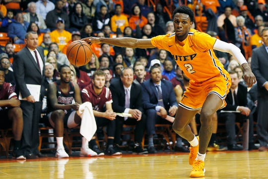 UTEP's Jordan Lathon during the game against New Mexico State University Tuesday, Nov. 12, at the Don Haskins Center in El Paso.