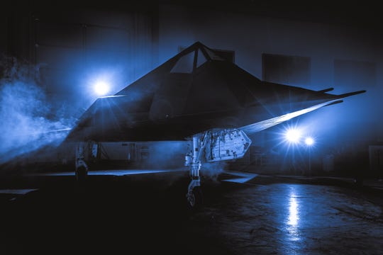 This F-117 Nighthawk Stealth Fighter was hauled in pieces to the Reagan presidential library in Simi Valley late Tuesday night. The plane will be assembled at the library and go on permanent public display there Dec. 7.