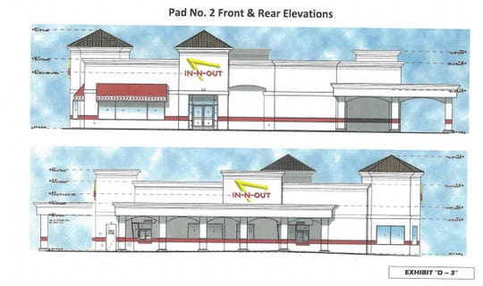 Front and rear view of proposed In-N-Out on the corner of Dinuba Boulevard and Riggin Avenue.