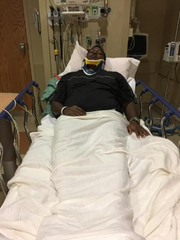 Erwin Church at the hospital after being punched in the head in October 2018.
