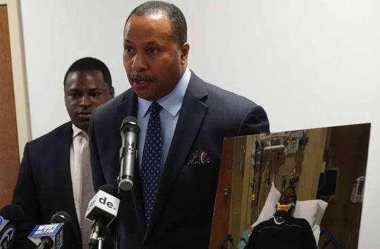 (left to right)Emeka Igwe, president of The Igwe Firm, stands next to lead investigator Terrence Jones at a press conference on Wednesday morning announcing a lawsuit filed against Frank E. Acierno, Jr.  on behalf of Erwin Church. The suit claims that Acierno attacked Church in a parking lot of One Greenville Crossing shopping center on November 13, 2018, causing Church to suffer a traumatic brain injury and critically impaired vision.