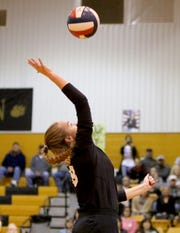 Archer City's Maggie Coates spikes the ball against Lindsay Tuesday, Nov. 12, 2019, in Henrietta. The Lady Knights defeated the Lady Cats 3-0 (28-26, 25-19, 25-19).