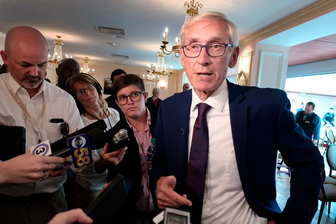 """Wisconsin Democratic Gov. Tony Evers said Wednesday that he doesn't believe Republicans are """"bastards"""" for firing his agriculture secretary, despite using the word when urging state workers not to be deterred by the move."""