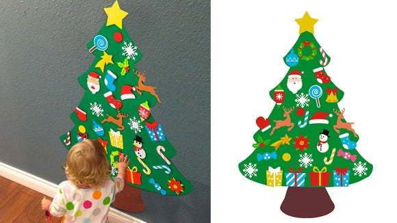 This felt wall-hanging is a great option for those with young children who might not want a full-size tree, or who want to augment their tree with a personalized option created by the kids.