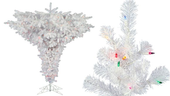 This inverted, all-white tree is very popular on Amazon.