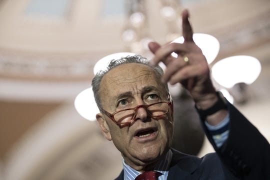 Senate Minority Leader Chuck Schumer (D-NY) speaks to reporters following the weekly Democratic policy luncheon at the U.S. Capitol on November 5, 2019 in Washington, DC.