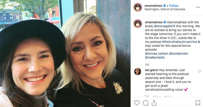 A photograph of Amanda Knox and Lorena Gallo on Knox's Instagram.