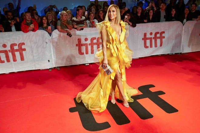 "Jennifer Lopez arrives for the premiere of ""Hustlers"" during Toronto International Film Festival on Sept. 7, 2019."