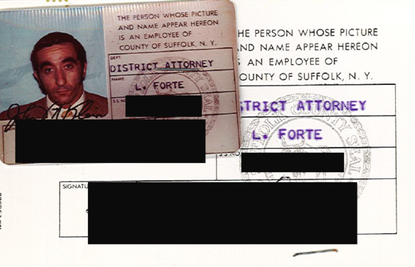 Leonard Forte's indentification from his tenure as a detective-investigator in New York's Suffolk County District Attorney's Office. He retired two years before he was charged with felony sexual assault in Vermont.
