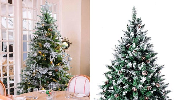 This tree is lightly-dusted with snow that won't fall off and onto your carpet.