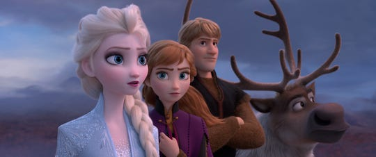 """Elsa (voiced by Idina Menzel, left) Anna (Kristen Bell), Kristoff (Jonathan Groff) and Sven have new challenges to face in the animated musical sequel """"Frozen 2."""""""