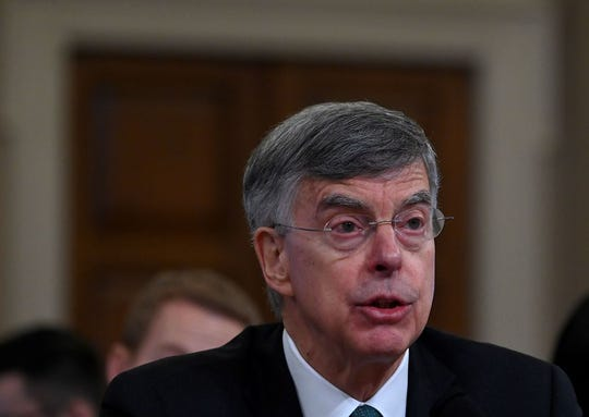 Ukrainian Ambassador William Taylor testifies Wednesday on Capitol Hill during the first public hearings held by the House Permanent Select Committee on Intelligence as part of the impeachment inquiry into President Donald Trump.