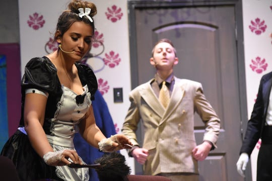 """Pineville High School Theatre will present """"Clue"""" Thursday, Nov. 14, 2019 through Sunday, Nov. 17, 2019 in the Pineville High School auditorium. Starring in the comedic """"whodunit"""" are Mia Rodriguez as Yvette and Jackson Neal as Colonel Mustard."""