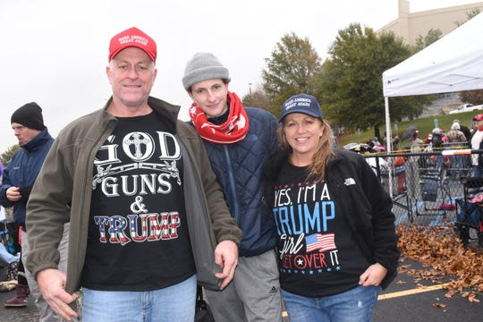 """Ben Coffey along with son Ethan Coffey and wife Tanya White Coffey, all of Alexandria, were in Bossier City to support and see President Donald Trump at a rally held at the CenturyLink Center. This is Ben's first rally, Ethan's second and Tanya's third. """"We're here to support the President, encourage him,"""" said Tanya. """"Be around people that are just like us.""""""""We're just here to support the economy and everything that he's done for it,"""" added Ben.The Coffeys arrived around 7 a.m. to get a spot in line.Supporters of President Donald Trump braved the cold temperatures Thursday morning, Nov. 14, 2019 at CenturyLink Center in Bossier City for his rally set for 7 p.m. that evening. Trump held another rally in Monroe last week."""