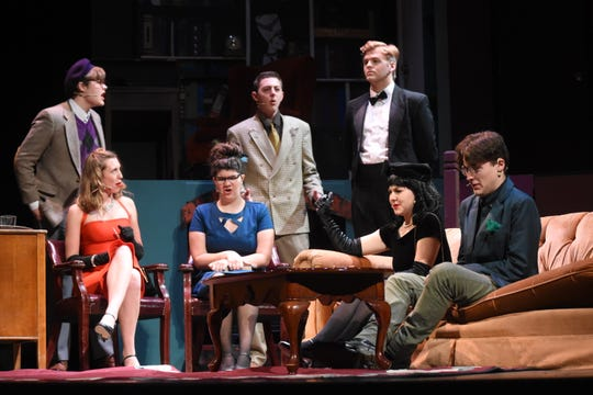 """Pineville High School Theatre will present """"Clue"""" Thursday, Nov. 14, 2019 through Sunday, Nov. 17, 2019 in the Pineville High School auditorium.  Starring in the comedic """"whodunit"""" are: Kevin Thomas as Professor Plum (far left, back); Kristen Blakewood (far left, front) as Miss Scarlet; Jackson Neal as Colonel Mustard (center, back); Carmen Taffi as Mrs. White (center, front); Jackson Price as Wadsworth (back, right); Ashley McKenzie (second from right) and Jonathan Osborne as Mr. Green."""