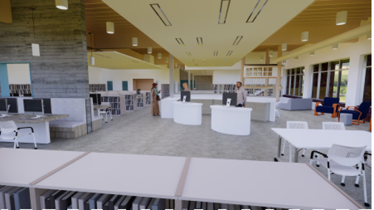 Renderings from Rice Fergus Miller show designs of what the new Silverdale library may look like, which will share space with Central Kitsap School District.