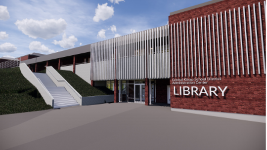 Renderings from Rice Fergus Miller show designs of what the new Silverdale library may look like, which will share space with Central Kitsap School District but is also a public library.