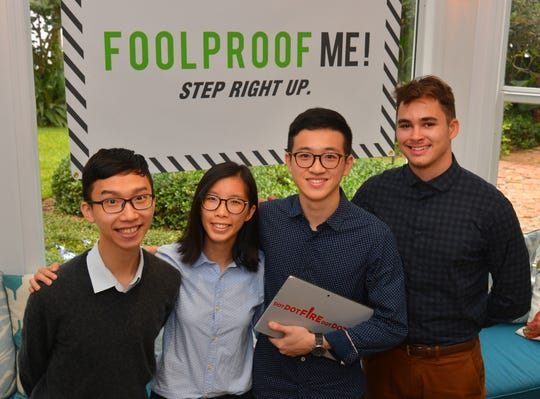 Three of the five co-founders of Dot Dot Fire  (left to right) Edison Chan, Franco Lam and Hilary Lok with Nick Muckerman, project manager. Dot Dot Fire in partnership with The Foolproof Foundation, is creating a unique gaming experience that teaches skepticism with life lessons.