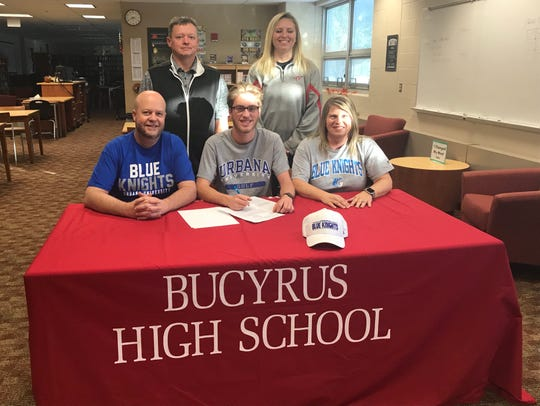 Bucyrus' Reece Zeigler signs his letter of intent to attend Urbana University for golf.
