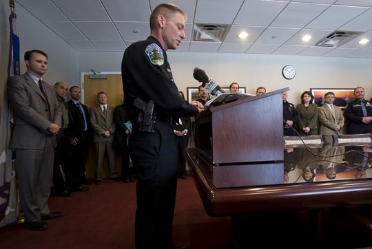 Michael Schirling, then-Burlington Police Chief, speaks at a news conference in April 2013 about increases in burglary, robbery and other crimes related to heroin and prescription drug trafficking and addiction in the city.