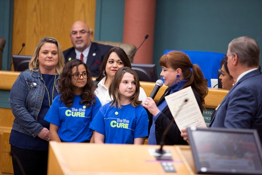 Leticia Mondragon speaks about the need for bone marrow donors at the City Council meeting on Tuesday, November 12, 2019. The month of November is National Marrow Awareness Month.