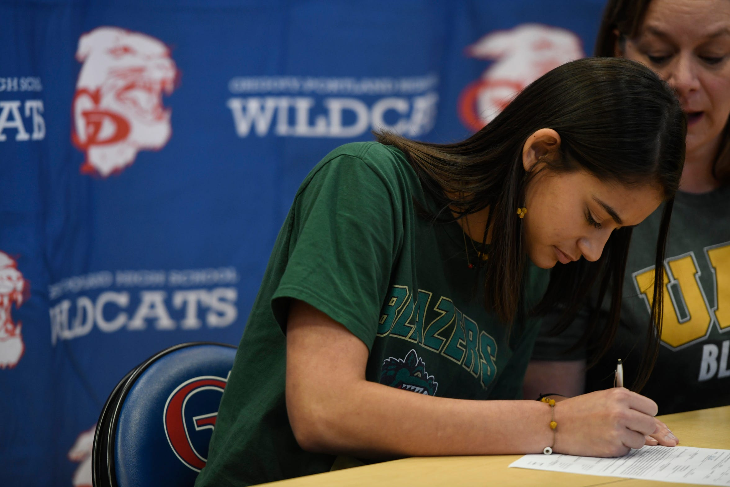Chloe Rodriguez signs her letter with the University of Alabama at Birmingham, Wednesday, Nov. 13, 2019, at Gregory-Portland High School. Rodriguez has a career 1,535 kills and a .488 hitting percentage.