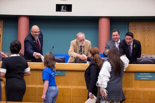 City Council members talk with representatives of Be the Match on Tuesday, November 12, 2019. The month of November is National Marrow Awareness Month.