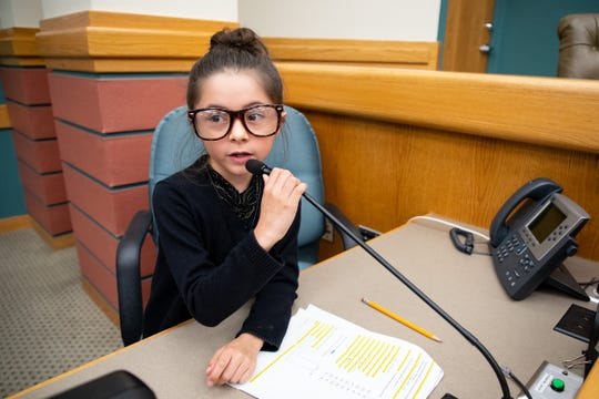 Windsor Park Elementary student Priya McDermott as the City Secretary during a third grade mock City Council meeting as they debate should the city enhance and develop North Beach on Thursday, Nov. 14, 2019.