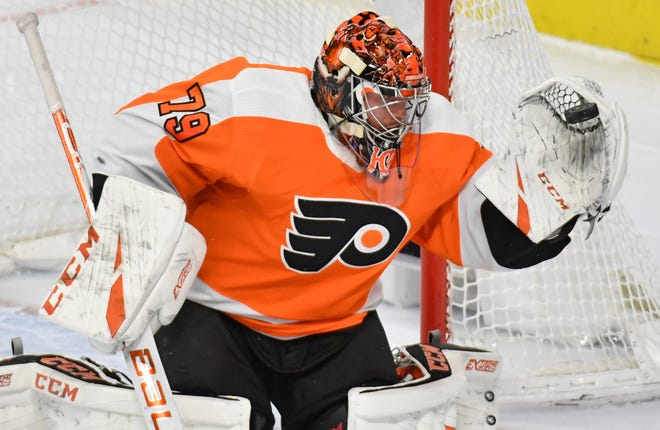 Carter Hart made 35 saves Wednesday night and kept the Flyers in the fight against the Washington Capitals.