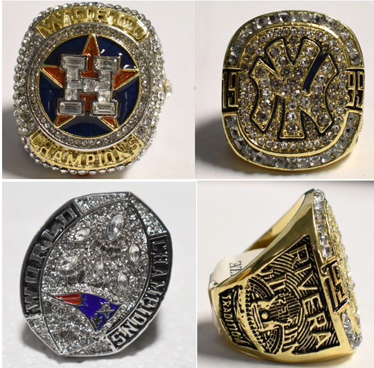 U.S. Customs and Border Protection officers seized these counterfeit championship rings.