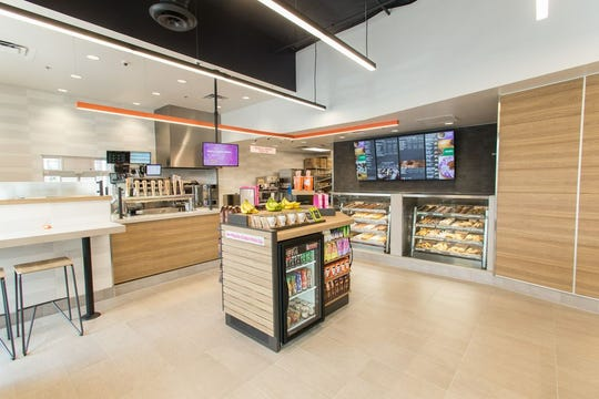 The interior of a Dunkin' 'next generation' location similar to the shop about to open in Cherry Hill on Route 70 near the closed Bayard's Chocolates.