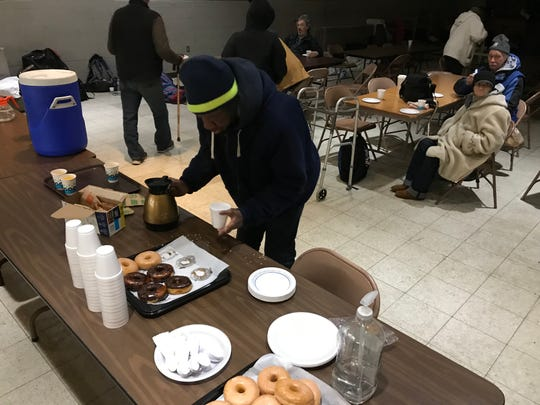 Truth and Destiny Church offered donuts, coffee, oat meal, and hot chocolate to individuals staying overnight with them.