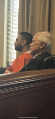 Gurpreet Singh, accused of shooting his wife and three other family members in West Chester in April, sits with attorney  Charles H. Rittgers during a hearing Nov. 13.