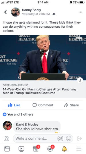A Clarksville-Montgomery County School System teacher's social media usage is being reviewed after comments made in a Facebook discussion about President Donald Trump. The screenshots have been edited to redact profanity.
