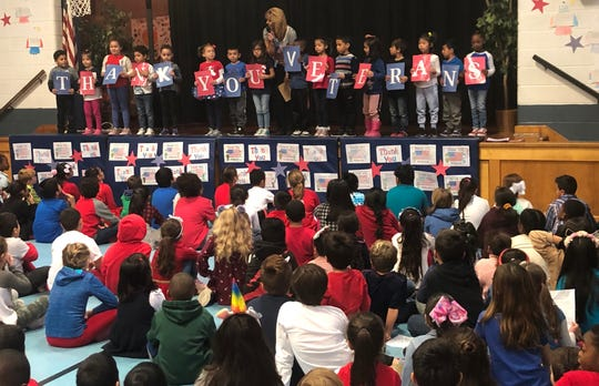 Parker Elementary School students thank veterans.