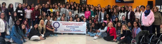 Pictured are girls who participated in the fourth annual STEM program with Freeholder Deputy Director Patricia Walsh, and Somerset County Commission on the Status of Women Chair Janice Fields, and Commissioners Vaseem Firdaus, Stella Ayala, Marti Kalko and Smiriti Agrawal.