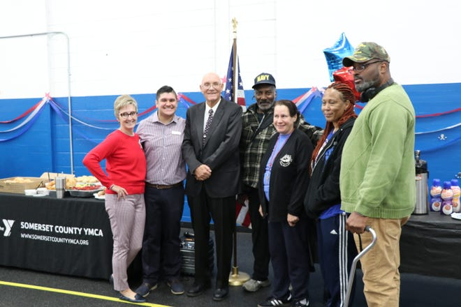 (Left to right) Kate Russo, executive director, Somerville YMCA; Eddie Norgard, director of membership and programs, Somerville YMCA; Somerville Mayor Dennis Sullivan; Al Coleman, a Navy veteran from East Orange; Maria Lopinto, an Army veteran from Lyons; Nanaa Hogue, an Army veteran from Lyons; and Robert Gaines, an Army veteran from Lyons.