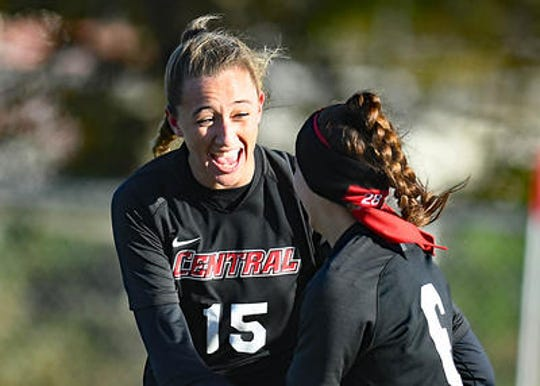 Hunterdon Central's Emily Mason celebrates after scoring in the first half against Eastern in the Group IV semifinals on Wednesday, Nov. 13, 2019.