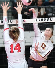 Ankeny's Isabelle Vacek (12) makes a kill shot during a 5A semifinal between Cedar Falls and Ankeny at the IGHSAU State Volleyball Tournament at the U.S. Cellular Center in Cedar Rapids on Thursday, Nov. 14, 2019.