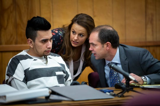 Cristhian Bahena Rivera talks to his defense attorney, Jennifer Frese through an interpreter during day two of an evidence suppression hearing at the Poweshiek County Courthouse on Thursday, Nov. 14, 2019 in Montezuma. Bahena Rivera confessed to killing Molly Tibbetts last year but his attorneys filed a motion to suppress the confession because he was not properly read his Miranda warning during initial interviews with police.