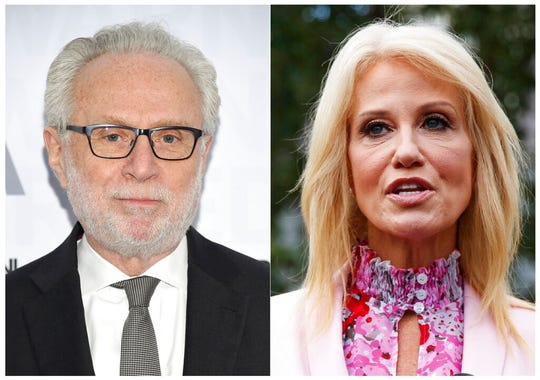 This combination of photos shows CNN's Wolf Blitzer, left, and Counselor to the President Kellyanne Conway. Blitzer and Conway had a tense exchange Thursday when the anchor sought reaction to her husband's televised criticism of President Trump a day earlier.