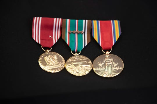 (From left) Henry Kroll was awarded the Army Good Conduct Medal, the World War II Campaign Medal with four Bronze Stars, and a WWII Victory Medal.