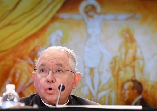 FILE - In this Tuesday, Nov. 12, 2019, file photo, Archbishop Jose H. Gomez, of Los Angeles, speaks during a news conference after being elected as president of the United States Conference of Catholic Bishops during their Fall General Assembly in Baltimore. The three-day national assembly concluded Wednesday, Nov. 13.