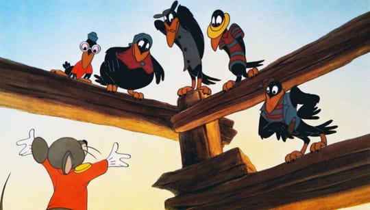 """In """"Dumbo,"""" from 1941, crows that help Dumbo learn to fly are depicted with exaggerated black stereotypical voices."""