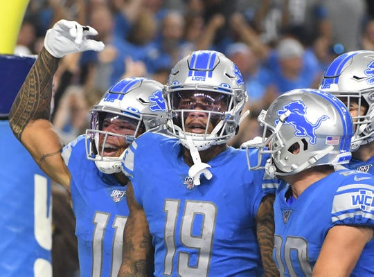 Marvin Jones (11), Kenny Golladay (19), and Danny Amendola (right) are part of a talented group of receivers for the Lions.