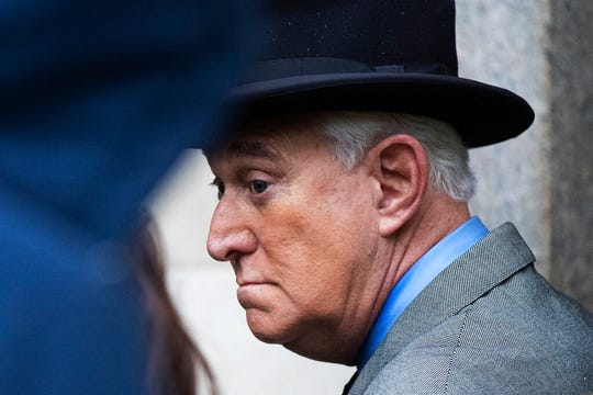 Roger Stone, a longtime Republican provocateur and former confidant of President Donald Trump, waits in line at the federal court in Washington, Tuesday, Nov. 12, 2019.