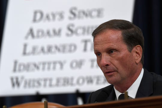 Rep. Chris Stewart, R-Utah, questions top U.S. diplomat in Ukraine William Taylor and career Foreign Service officer George Kent in the House Intelligence Committee on Capitol Hill in Washington, Wednesday, Nov. 13, 2019.