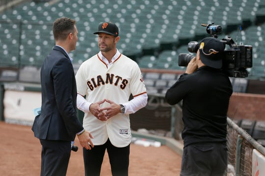 Gabe Kapler was introduced as Giants manager Wednesday.